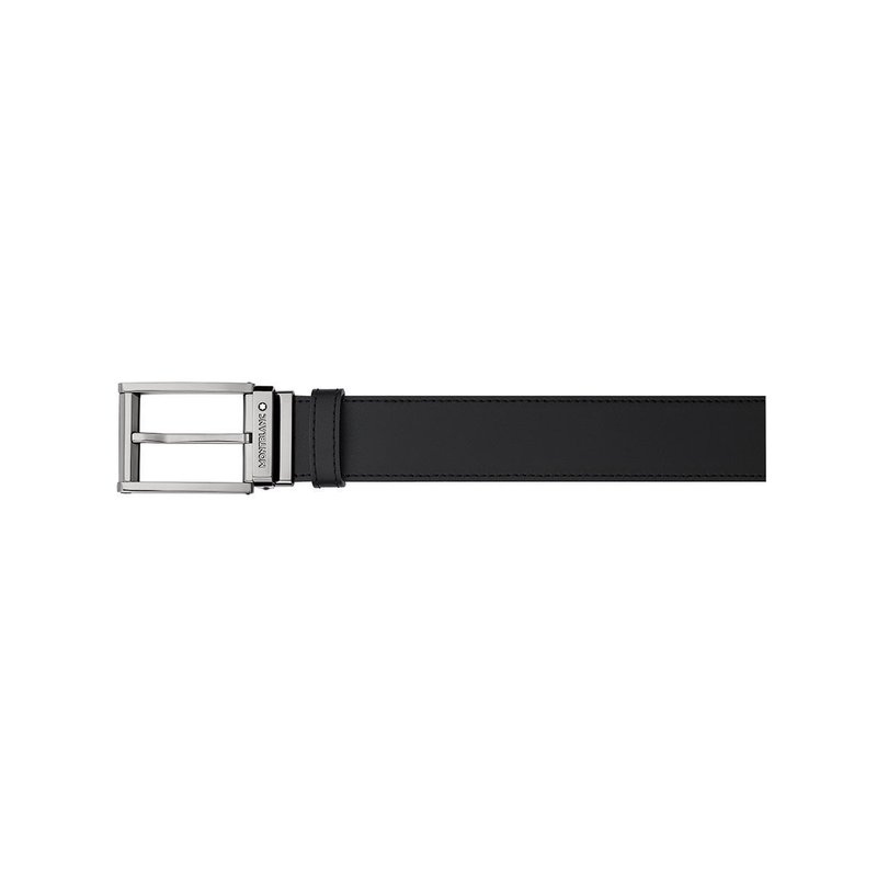 Montblanc Squared Shiny Ruthenium Coated Pin Buckle Leather Black/Brown Belt