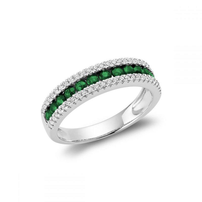 RNB Bijoux Jewellery Semi Eternity Emerald & Diamond Ring