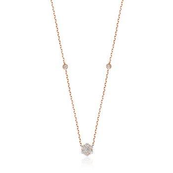 Flower & Bezel Diamond Necklace