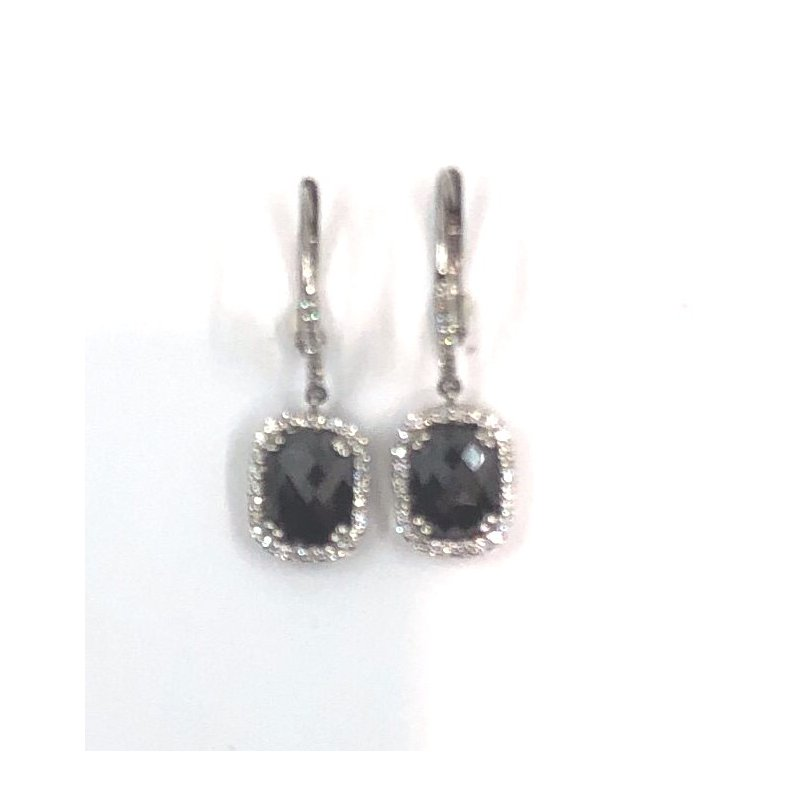The Collection Black Diamond Drop Earrings