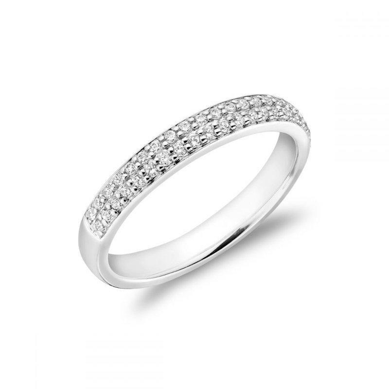 RNB Bijoux Jewellery Two Row Pave Semi Eternity Diamond Band