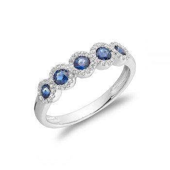 Blue Sapphire & Diamond Frame Ring