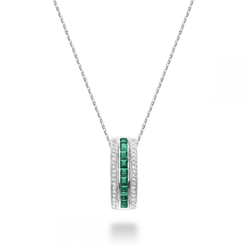 RNB Bijoux Jewellery Emerald & Diamond Pendant