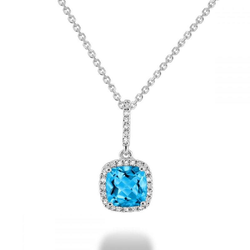 RNB Bijoux Jewellery Cushion Cut Blue Topaz & Diamond Halo Pendant
