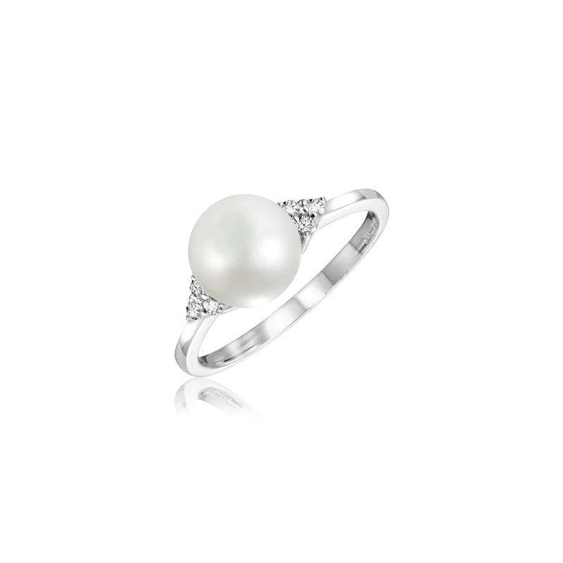 RNB Bijoux Jewellery Cultured Freshwater Pearl & Diamond Ring