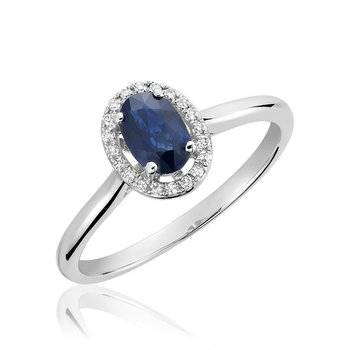 Oval Blue Sapphire & Diamond Halo Ring