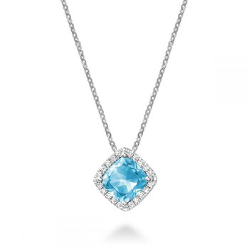 Cushion Cut Blue Topaz & Diamond Halo Pendant