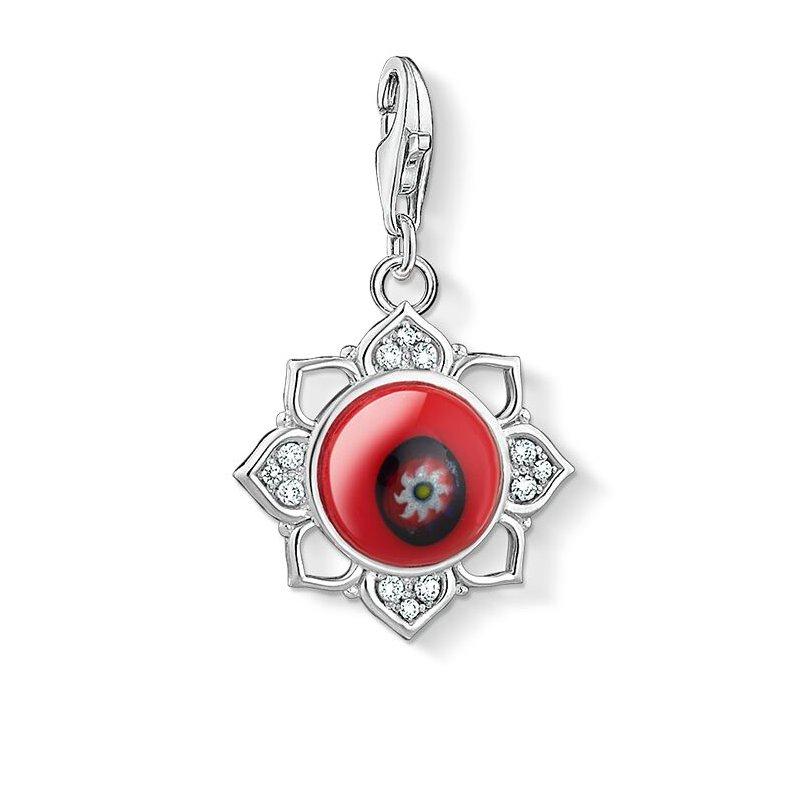 Thomas Sabo Charm Pendant Red Glass Lotus Flower