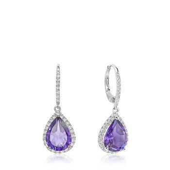 Teardrop Amethyst & Diamond Dangle Earrings