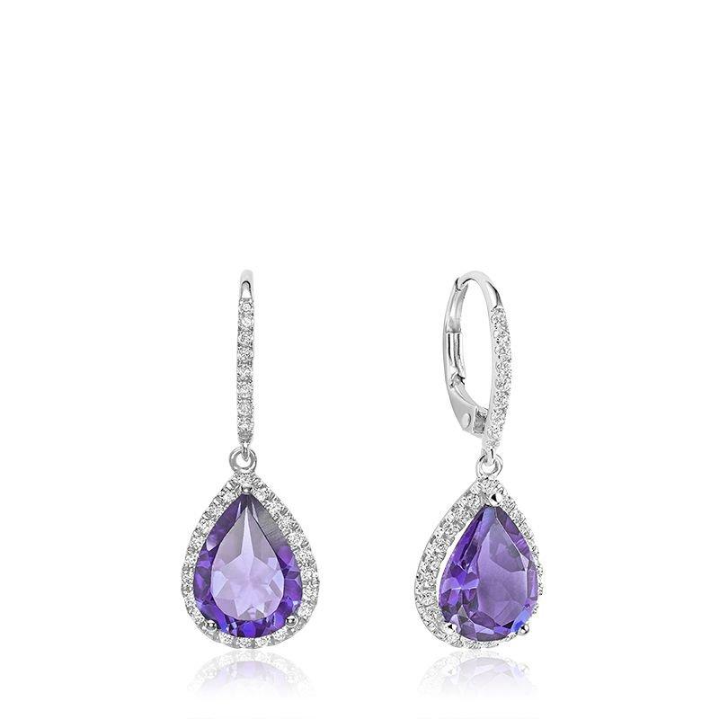 RNB Bijoux Jewellery Teardrop Amethyst & Diamond Dangle Earrings