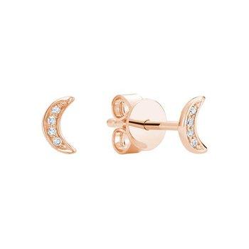Illusion Diamond Moon Stud Earrings