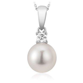 Cultured Freshwater Pearl & Diamond Pendant