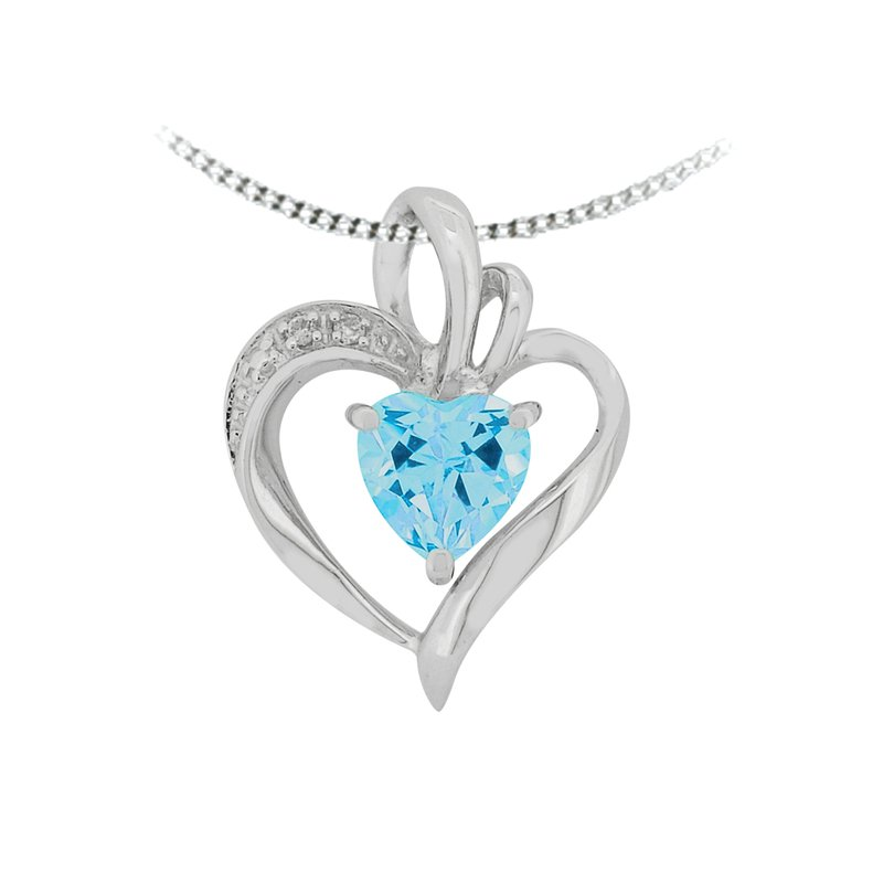 The Collection Blue Topaz And Diamond Pendant