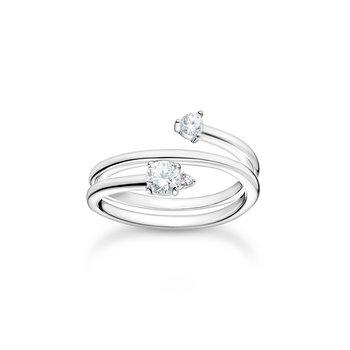 Ring Arrow White Stones Silver