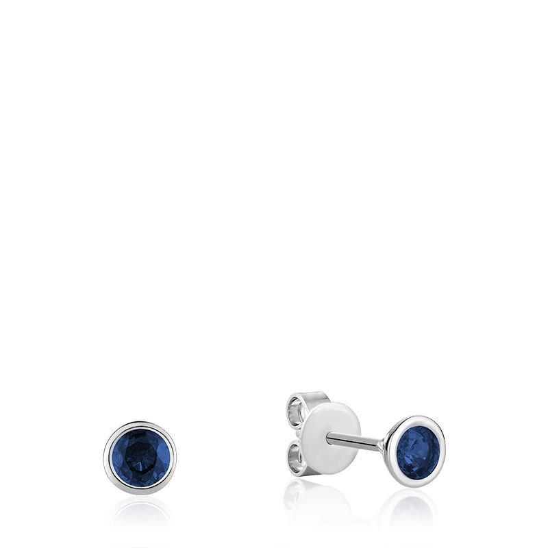 RNB Bijoux Jewellery Bezel Set Blue Sapphire Stud Earrings