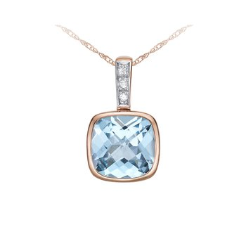 Sky Blue Topaz And Diamond Pendant