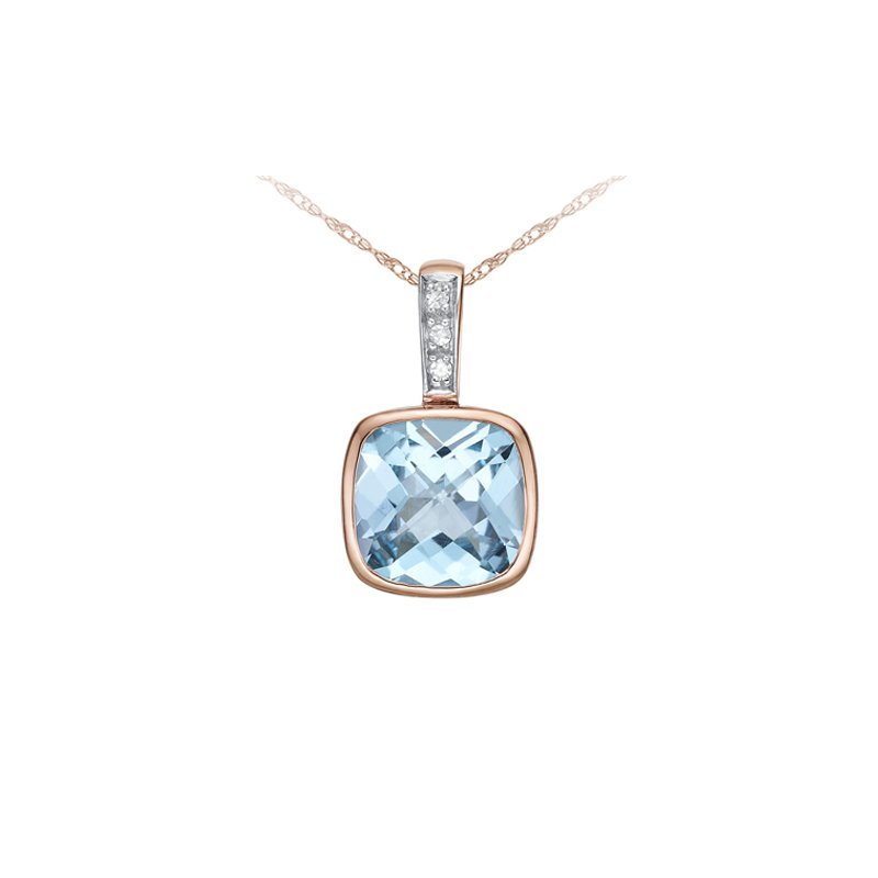 The Collection Sky Blue Topaz And Diamond Pendant