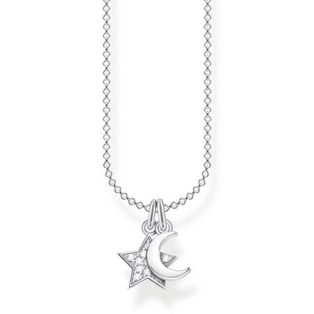 Sterling Silver Necklace Star and Moon