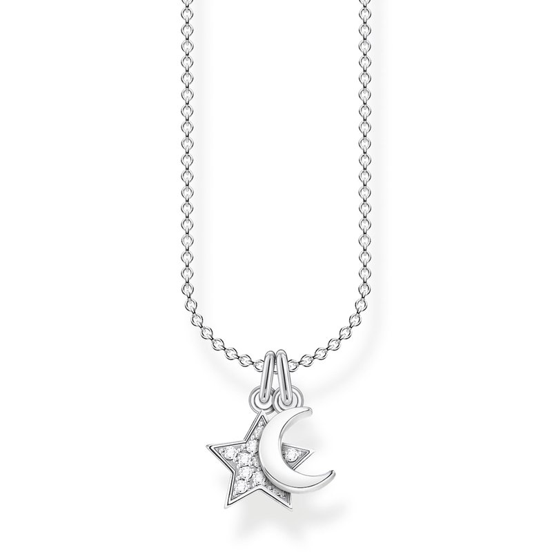 Thomas Sabo Sterling Silver Necklace Star and Moon