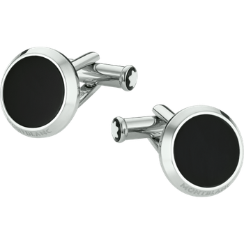 Meisterstück Round Stainless Steel Cuff Links Engraved And With Black Onyx