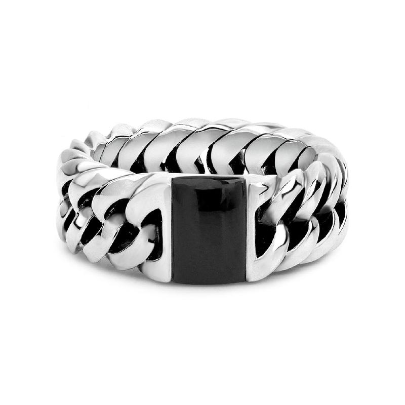 Buddha to Buddha Onyx Chain Ring