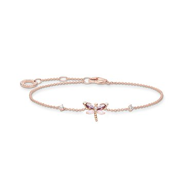 Bracelet Dragonfly With Stones Rose Gold Plated
