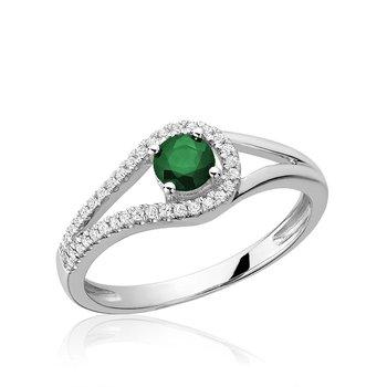 Split Shank Emerald & Diamond Ring