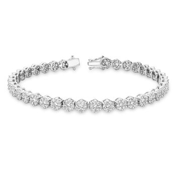 Cluster Diamond Tennis Bracelet