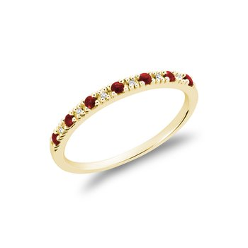 Pave Semi Eternity Ruby & Diamond Ring