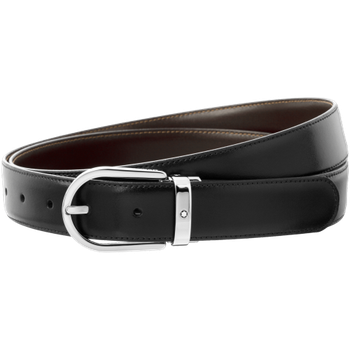 Horseshoe Shiny Palladium Coated Reversible Leather Black/Brown  Belt