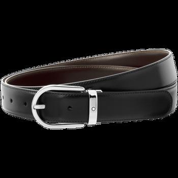 Horseshoe Shiny Palladium Coated Reversible Leather Black/Brown  Belt