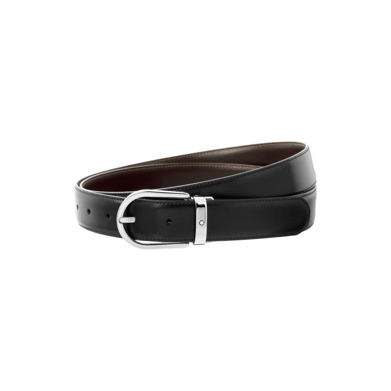Montblanc Horseshoe Shiny Palladium Coated Reversible Leather Black/Brown  Belt