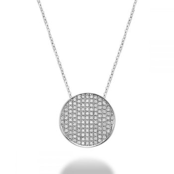 Curved Disk Diamond Pendant