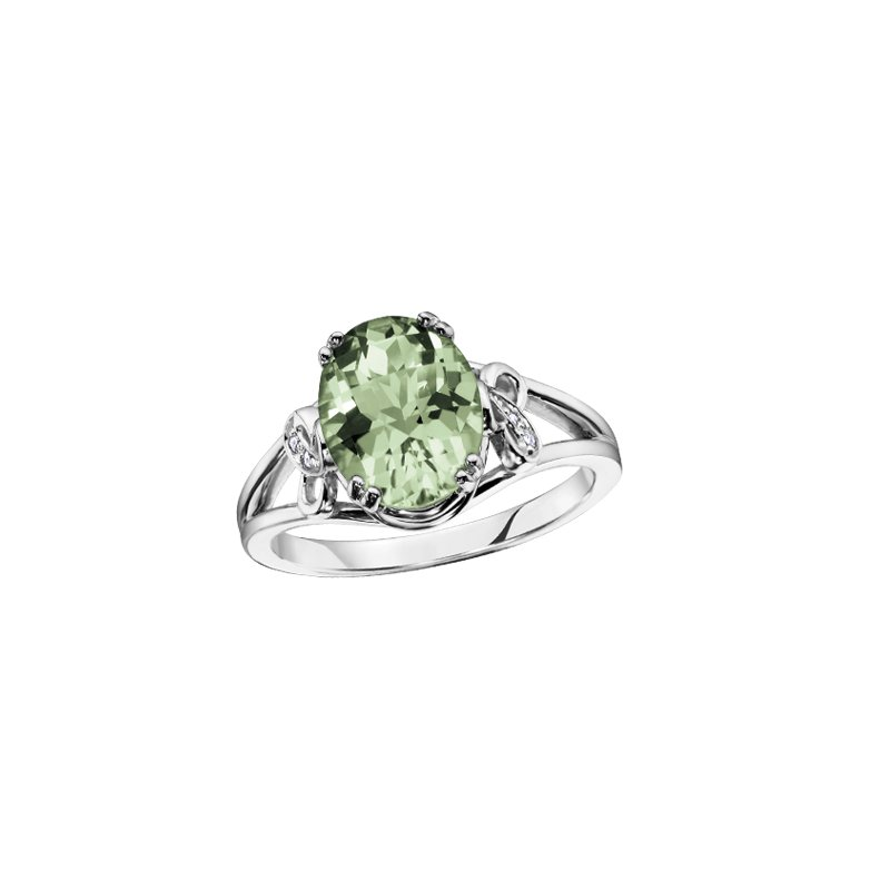 The Collection Green Amethyst and Diamond Ring
