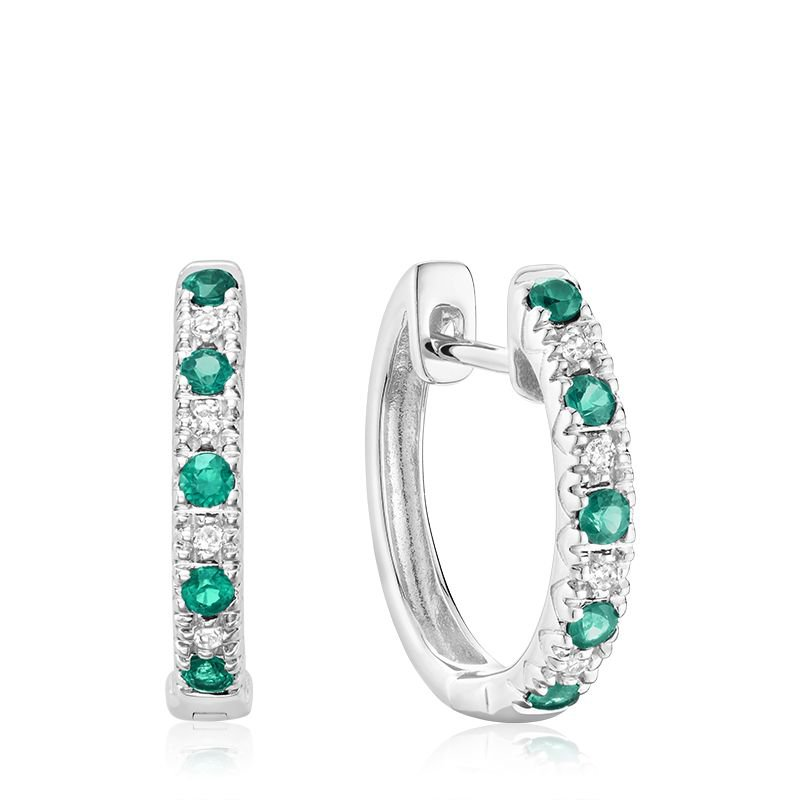 RNB Bijoux Jewellery Emerald & Diamond Huggie Earrings
