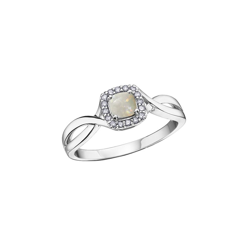 The  Collection Opal and Diamond Halo Ring