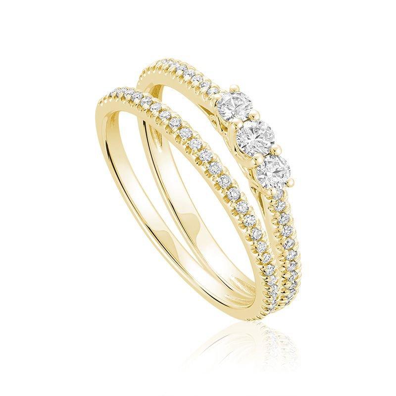 RNB Bijoux Jewellery Three Stone Diamond Engagement Ring Set