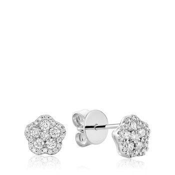 Hollow Flower Diamond Stud Earrings