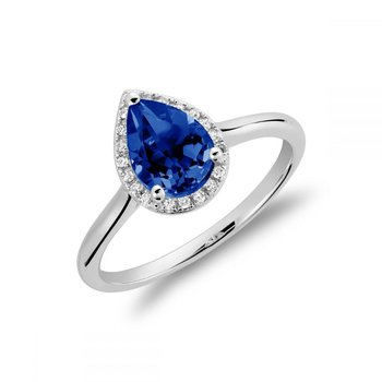 Created Blue Sapphire & Diamond Pear Shape Ring
