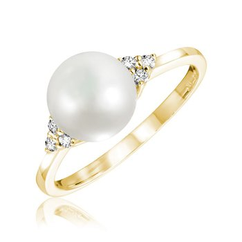 Cultured Freshwater Pearl & Diamond Ring
