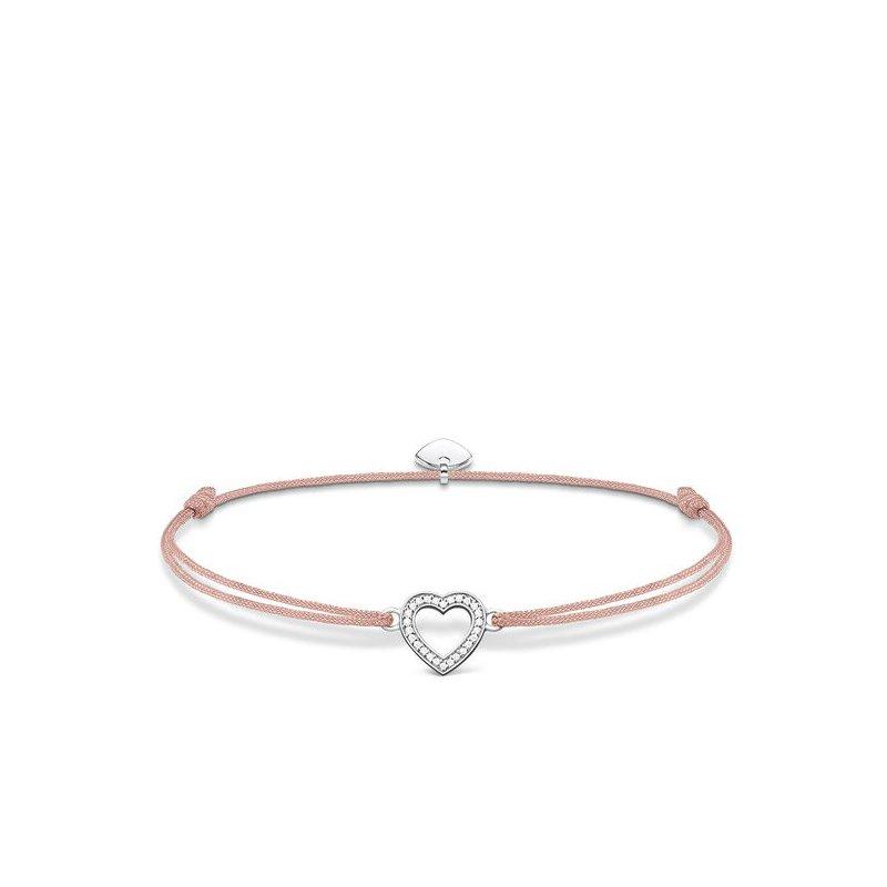"Thomas Sabo Pink Textile  Bracelet ""Little Secret Heart"""
