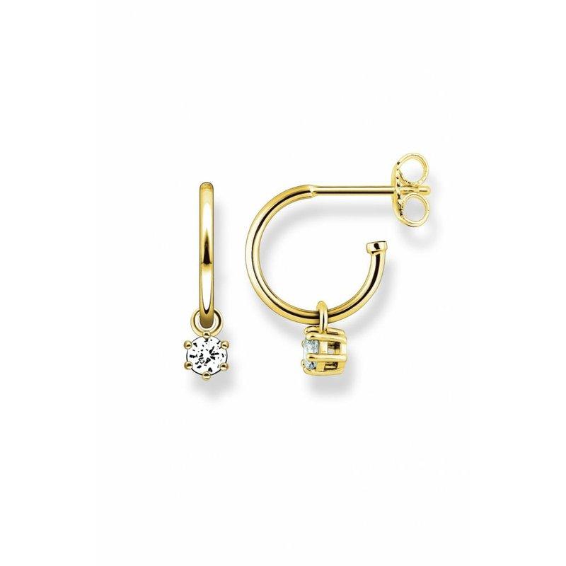 Thomas Sabo Sterling Silver Gold Plated Cz Hoop Stud Earrings