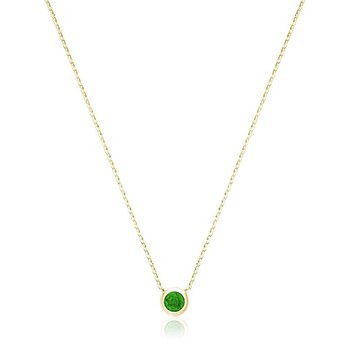 Bezel Set Emerald Necklace