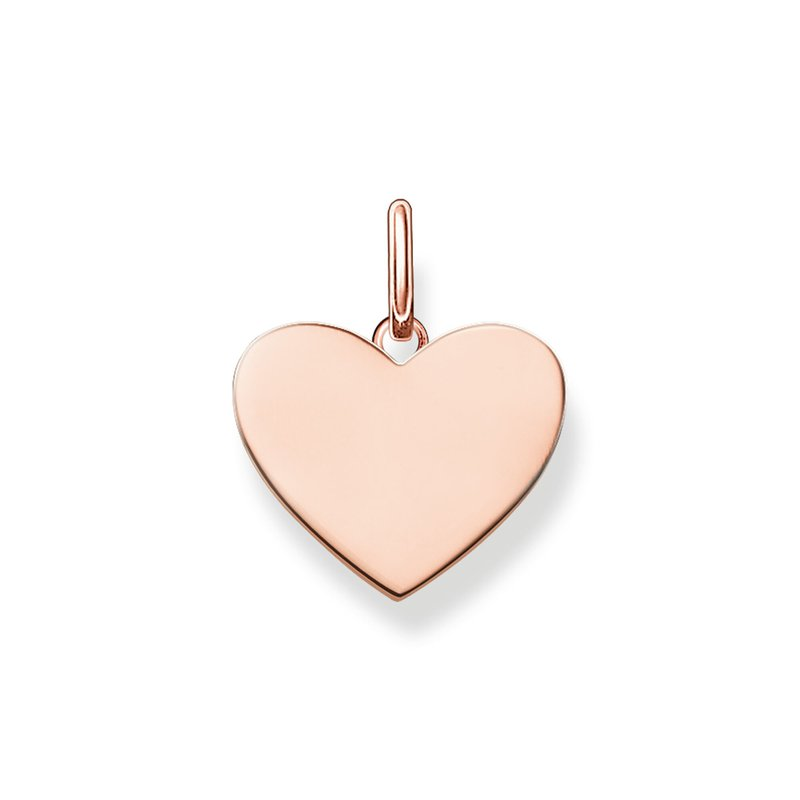 Thomas Sabo Sterling Silver With Rose Gold Plating Engravable Heart Pendant