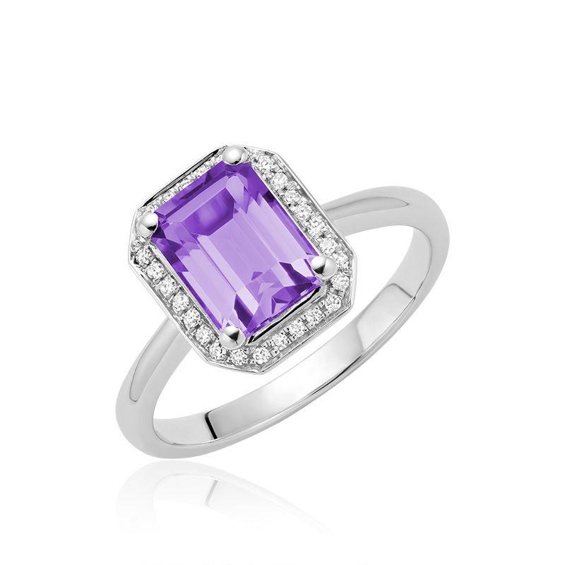 RNB Bijoux Jewellery Amethyst & Diamond Emerald Cut Ring