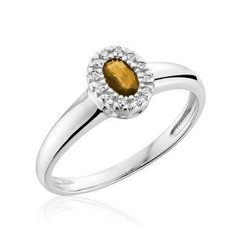 Oval Citrine & Diamond Halo Ring