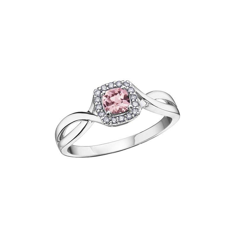 Corona Jewellery Pink Tourmaline and Diamond Halo Ring