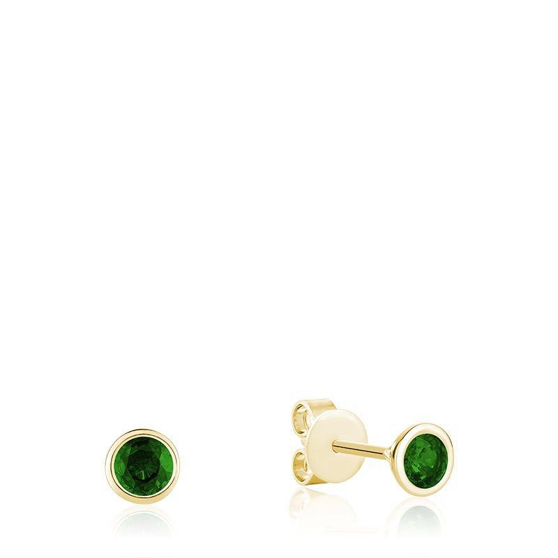 RNB Bijoux Jewellery Bezel Set Emerald Stud Earrings