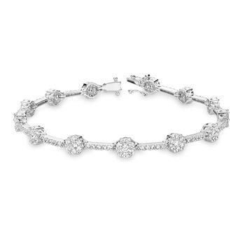 Cluster Link Diamond Tennis Bracelet