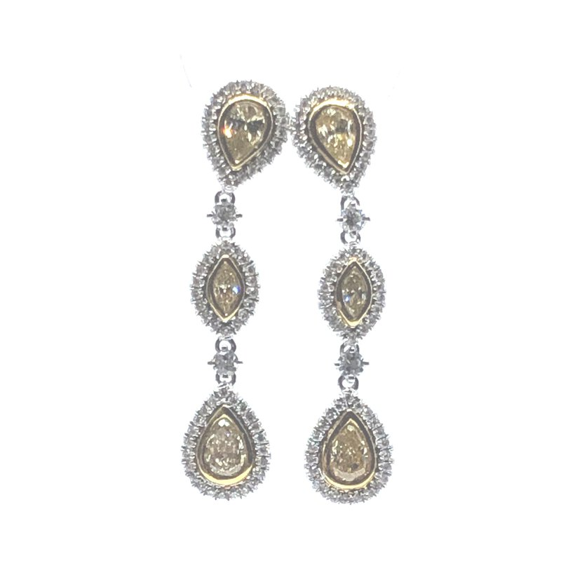 The Collection Fancy Yellow And White Diamond Drop Earrings